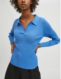 Μπλούζα πλεκτή ριμπ με πόλο γιακά COMPANIA FANTASTICA