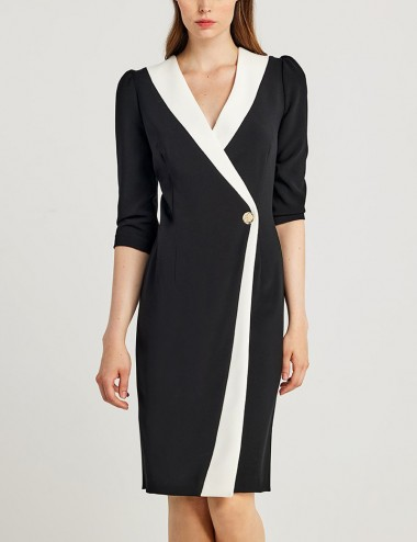 Φόρεμα κρουαζέ με διχρωμία FOREL